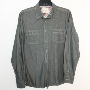 Weatherproof L Button Front Shirt Gray Casual NWOT